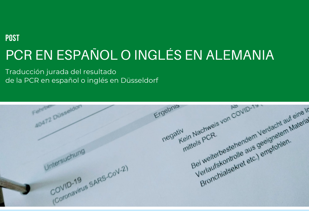 PCR en español o inglés en Alemania: traducción jurada oficial