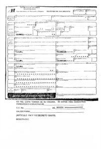 Certificado de nacimiento de Colombia