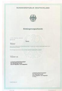 Übersetzung Einbürgerungsurkunde